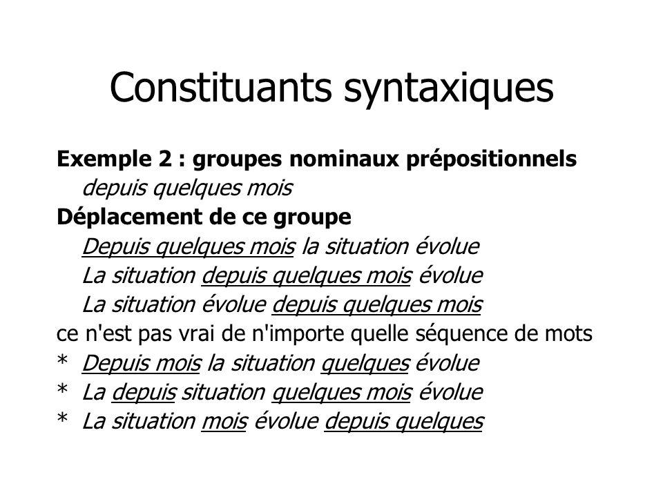 Constituants syntaxiques Exemple 2 : groupes nominaux prépositionnels depuis quelques mois Déplacement de ce groupe Depuis quelques mois la situation