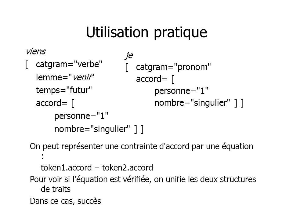 Utilisation pratique viens [catgram= verbe lemme= venir temps= futur accord= [ personne= 1 nombre= singulier ] ] je [catgram= pronom accord= [ personne= 1 nombre= singulier ] ] On peut représenter une contrainte d accord par une équation : token1.accord = token2.accord Pour voir si l équation est vérifiée, on unifie les deux structures de traits Dans ce cas, succès