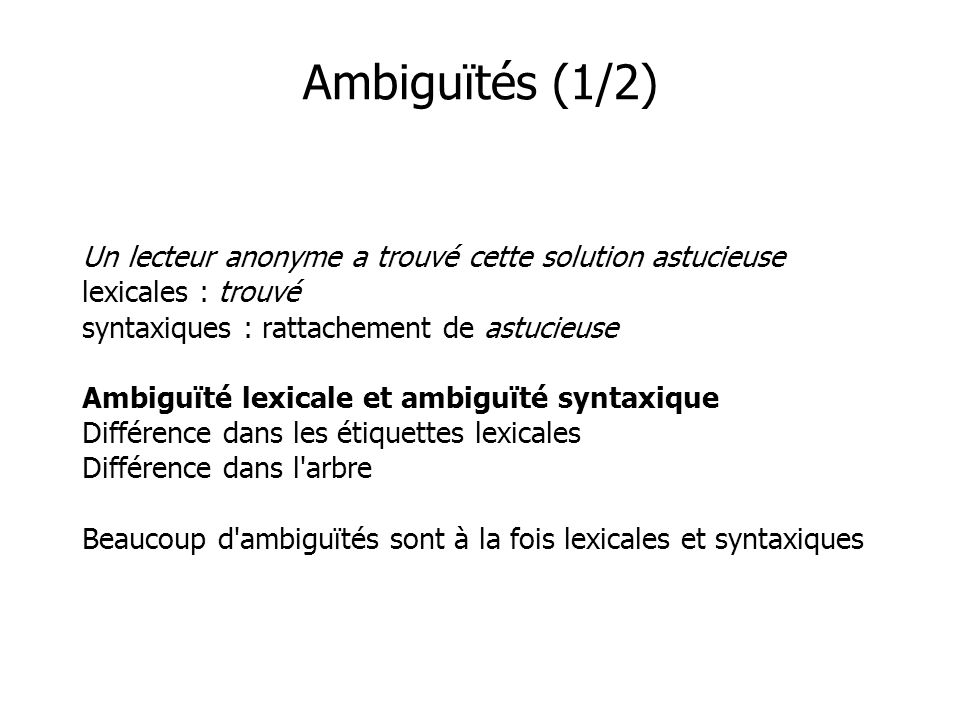 Ambiguïtés (1/2) Un lecteur anonyme a trouvé cette solution astucieuse lexicales : trouvé syntaxiques : rattachement de astucieuse Ambiguïté lexicale