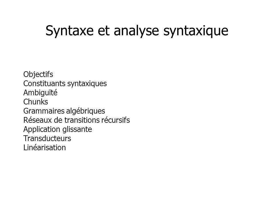Objectifs Constituants syntaxiques Ambiguïté Chunks Grammaires algébriques Réseaux de transitions récursifs Application glissante Transducteurs Linéar