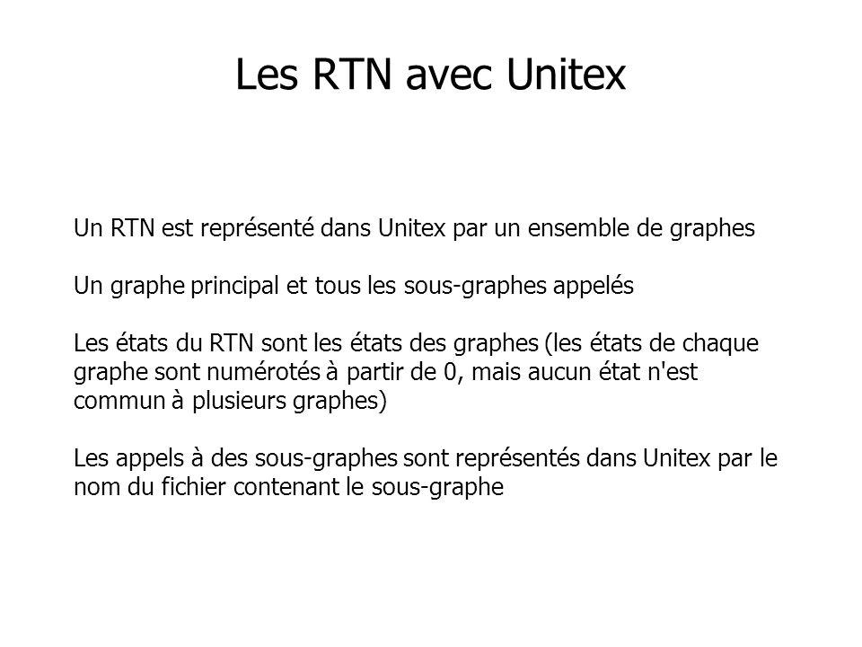 Les RTN avec Unitex Un RTN est représenté dans Unitex par un ensemble de graphes Un graphe principal et tous les sous-graphes appelés Les états du RTN