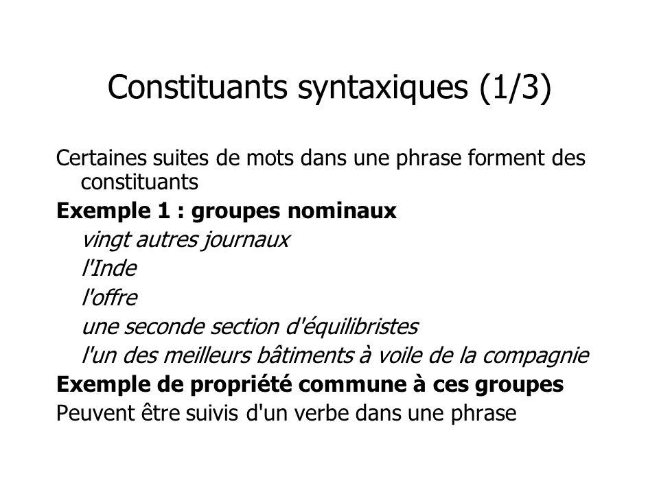 Constituants syntaxiques (1/3) Certaines suites de mots dans une phrase forment des constituants Exemple 1 : groupes nominaux vingt autres journaux l'