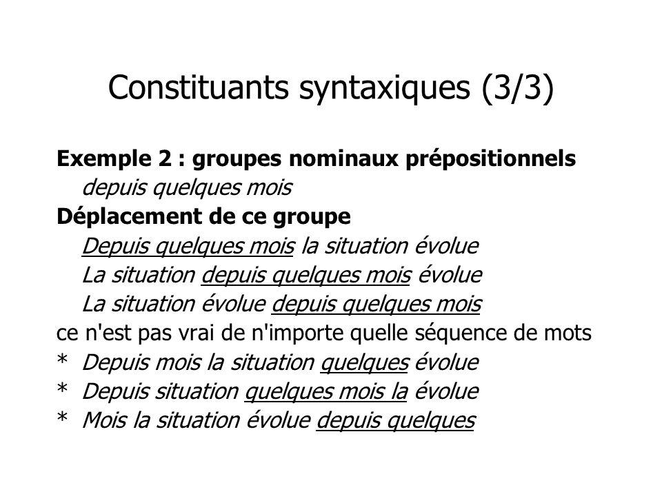 Constituants syntaxiques (3/3) Exemple 2 : groupes nominaux prépositionnels depuis quelques mois Déplacement de ce groupe Depuis quelques mois la situ