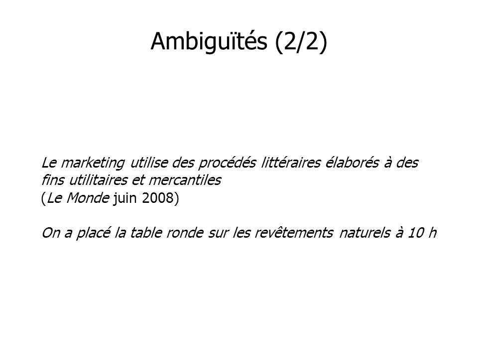 Ambiguïtés (2/2) Le marketing utilise des procédés littéraires élaborés à des fins utilitaires et mercantiles (Le Monde juin 2008) On a placé la table ronde sur les revêtements naturels à 10 h
