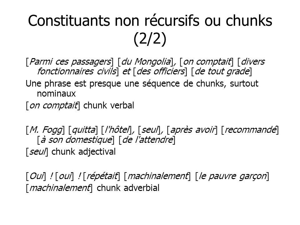 Constituants non récursifs ou chunks (2/2) [Parmi ces passagers] [du Mongolia], [on comptait] [divers fonctionnaires civils] et [des officiers] [de to