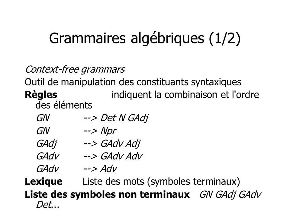 Grammaires algébriques (1/2) Context-free grammars Outil de manipulation des constituants syntaxiques Règlesindiquent la combinaison et l ordre des éléments GN--> Det N GAdj GN--> Npr GAdj--> GAdv Adj GAdv--> GAdv Adv GAdv--> Adv LexiqueListe des mots (symboles terminaux) Liste des symboles non terminauxGN GAdj GAdv Det...