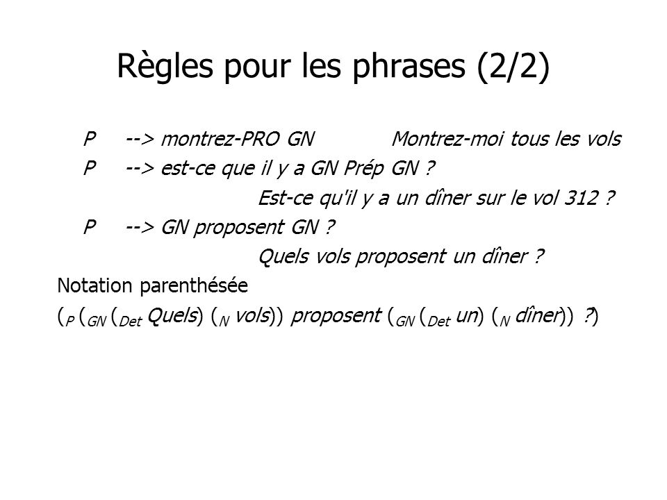 Règles pour les phrases (2/2) P--> montrez-PRO GNMontrez-moi tous les vols P--> est-ce que il y a GN Prép GN .
