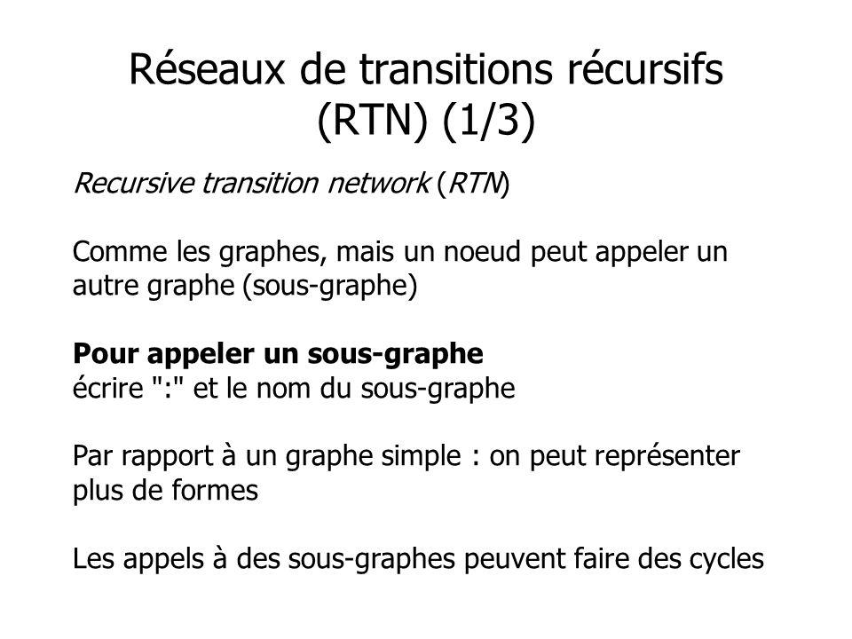 Recursive transition network (RTN) Comme les graphes, mais un noeud peut appeler un autre graphe (sous-graphe) Pour appeler un sous-graphe écrire : et le nom du sous-graphe Par rapport à un graphe simple : on peut représenter plus de formes Les appels à des sous-graphes peuvent faire des cycles Réseaux de transitions récursifs (RTN) (1/3)