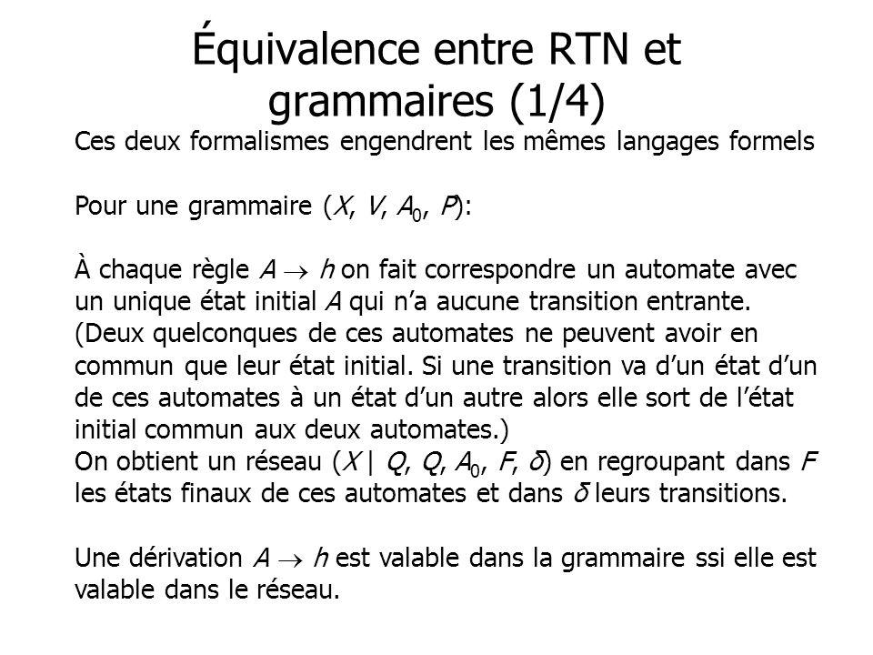 Ces deux formalismes engendrent les mêmes langages formels Pour une grammaire (X, V, A 0, P): À chaque règle A h on fait correspondre un automate avec