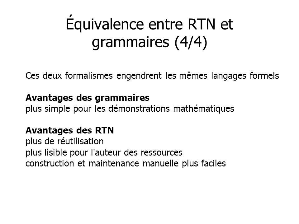 Ces deux formalismes engendrent les mêmes langages formels Avantages des grammaires plus simple pour les démonstrations mathématiques Avantages des RTN plus de réutilisation plus lisible pour l auteur des ressources construction et maintenance manuelle plus faciles Équivalence entre RTN et grammaires (4/4)