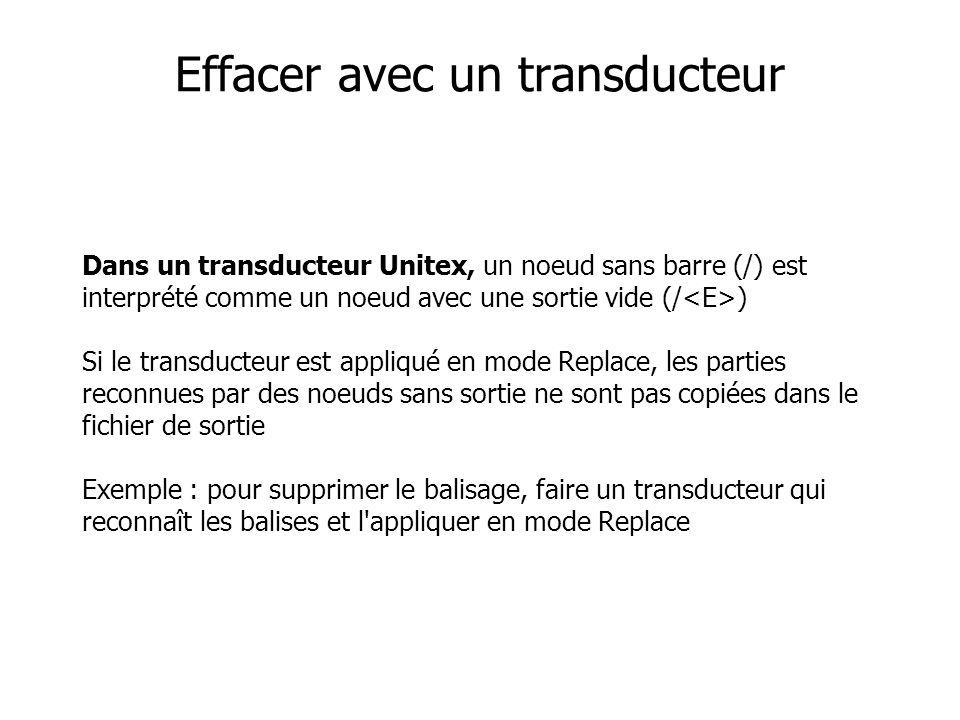 Dans un transducteur Unitex, un noeud sans barre (/) est interprété comme un noeud avec une sortie vide (/ ) Si le transducteur est appliqué en mode Replace, les parties reconnues par des noeuds sans sortie ne sont pas copiées dans le fichier de sortie Exemple : pour supprimer le balisage, faire un transducteur qui reconnaît les balises et l appliquer en mode Replace Effacer avec un transducteur