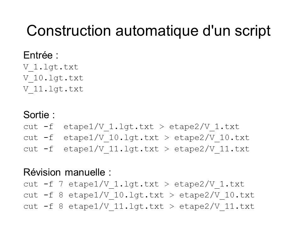 Construction automatique d'un script Entrée : V_1.lgt.txt V_10.lgt.txt V_11.lgt.txt Sortie : cut -f etape1/V_1.lgt.txt > etape2/V_1.txt cut -f etape1/