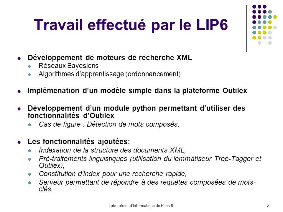 Travail effectué par le LIP6 Développement de moteurs de recherche XML Réseaux Bayesiens Algorithmes dapprentissage (ordonnancement) Implémenation dun modèle simple dans la plateforme Outilex Développement dun module python permettant dutiliser des fonctionnalités dOutilex Cas de figure : Détection de mots composés.