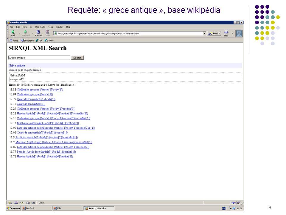 Laboratoire d Informatiqe de Paris 69 Requête: « grèce antique », base wikipédia