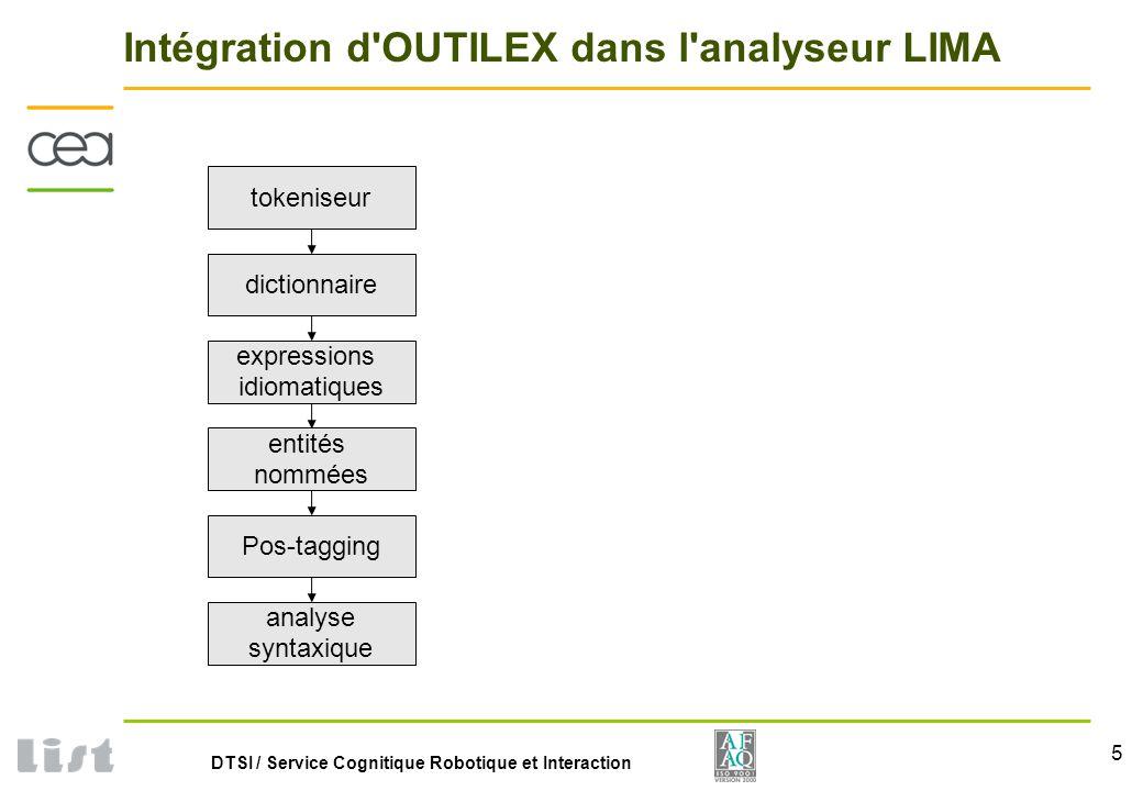5 DTSI / Service Cognitique Robotique et Interaction Intégration d OUTILEX dans l analyseur LIMA tokeniseur dictionnaire expressions idiomatiques entités nommées Pos-tagging analyse syntaxique