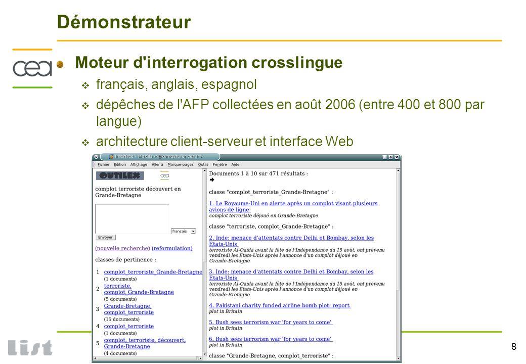 8 DTSI / Service Cognitique Robotique et Interaction Démonstrateur Moteur d interrogation crosslingue français, anglais, espagnol dépêches de l AFP collectées en août 2006 (entre 400 et 800 par langue) architecture client-serveur et interface Web