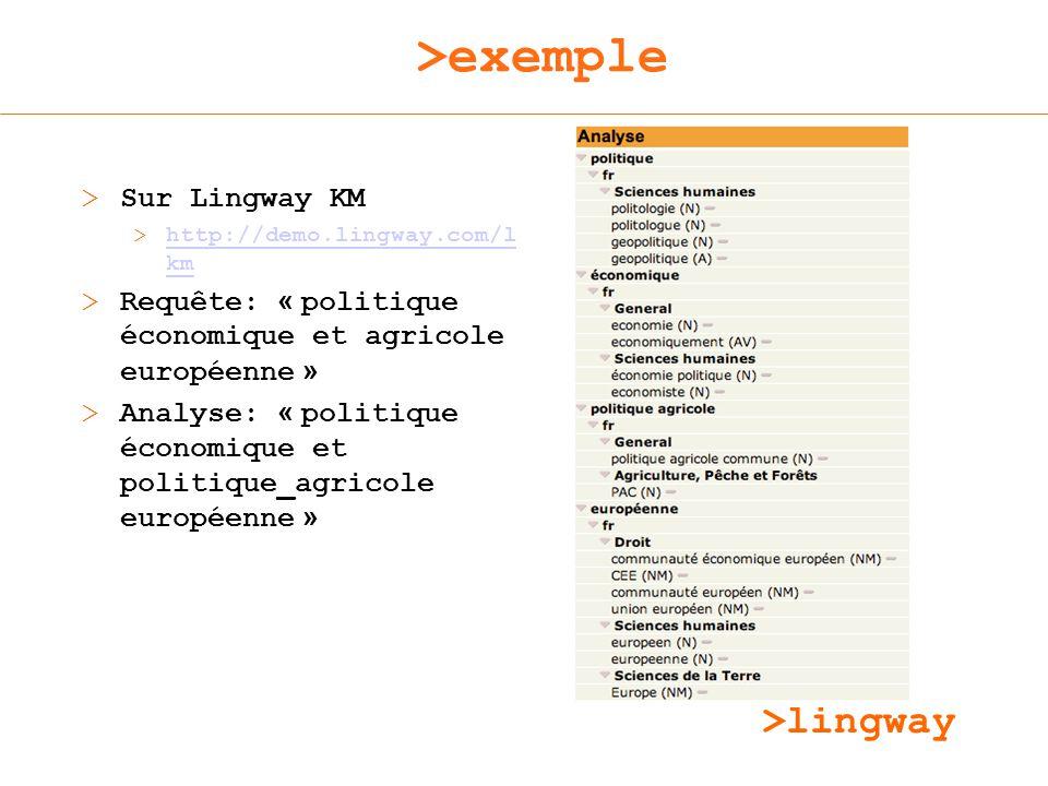>lingway >exemple > Sur Lingway KM >http://demo.lingway.com/l kmhttp://demo.lingway.com/l km > Requête: « politique économique et agricole européenne » > Analyse: « politique économique et politique_agricole européenne »