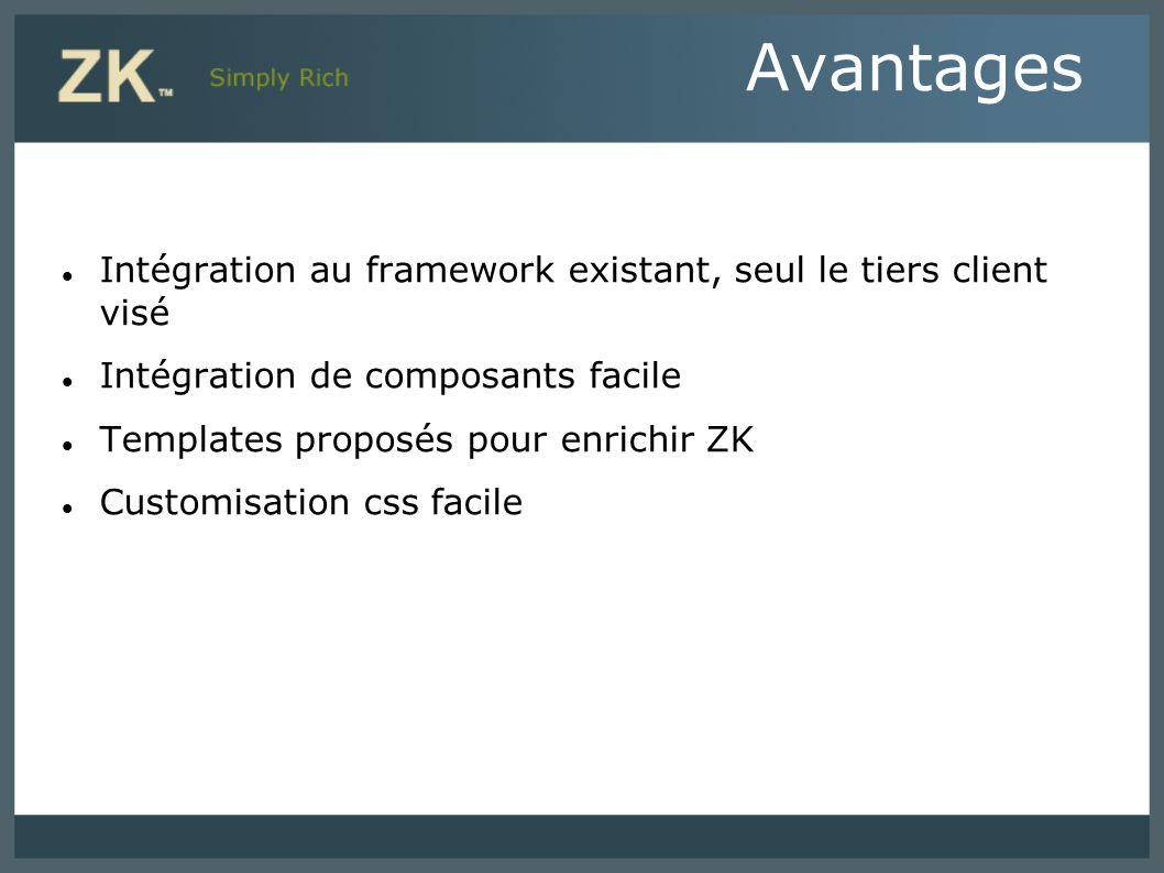 Intégration au framework existant, seul le tiers client visé Intégration de composants facile Templates proposés pour enrichir ZK Customisation css fa