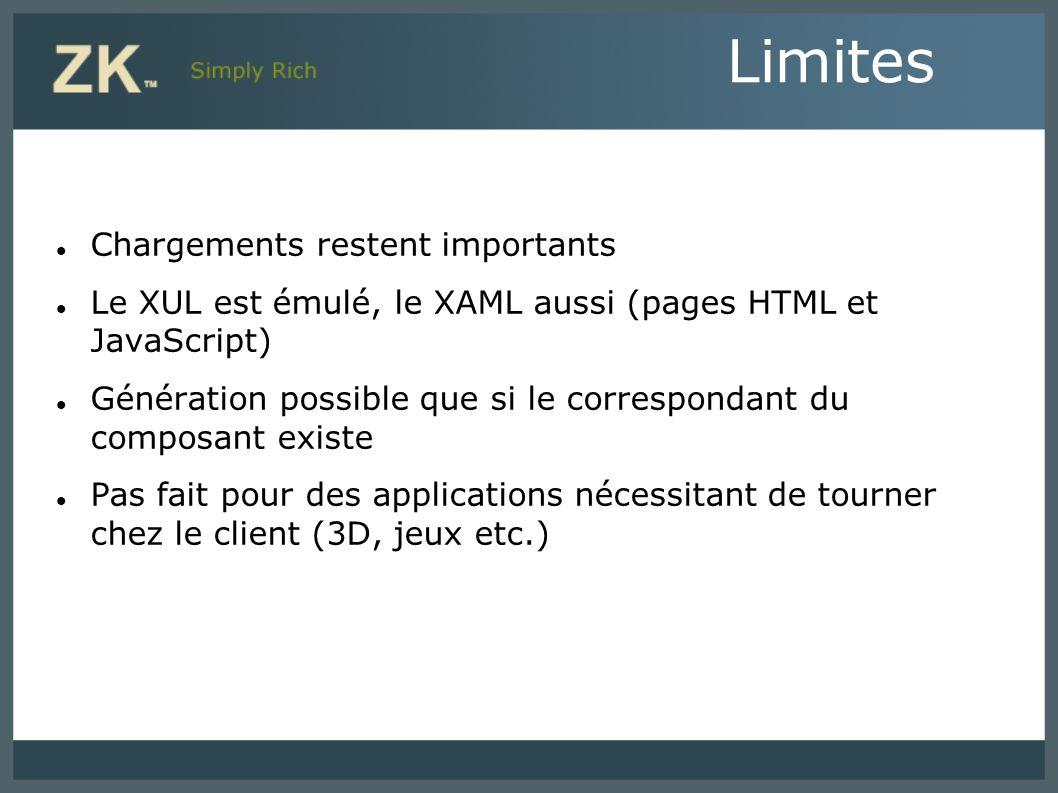 Chargements restent importants Le XUL est émulé, le XAML aussi (pages HTML et JavaScript) Génération possible que si le correspondant du composant exi