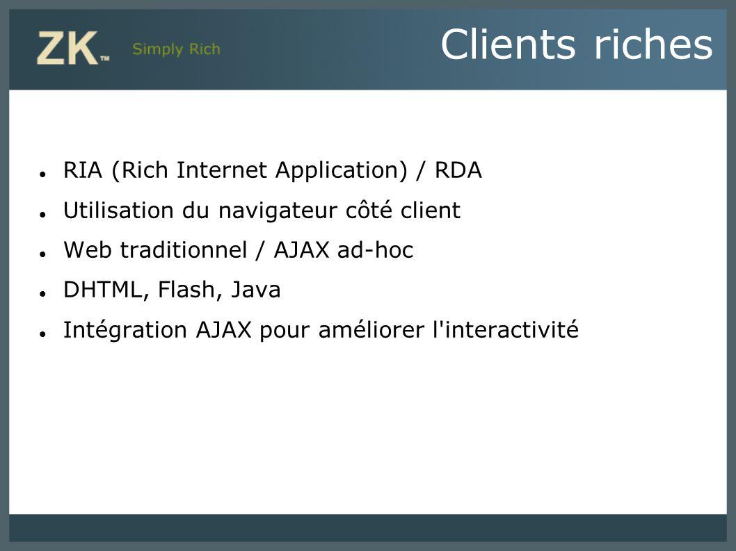 Clients riches RIA (Rich Internet Application) / RDA Utilisation du navigateur côté client Web traditionnel / AJAX ad-hoc DHTML, Flash, Java Intégrati
