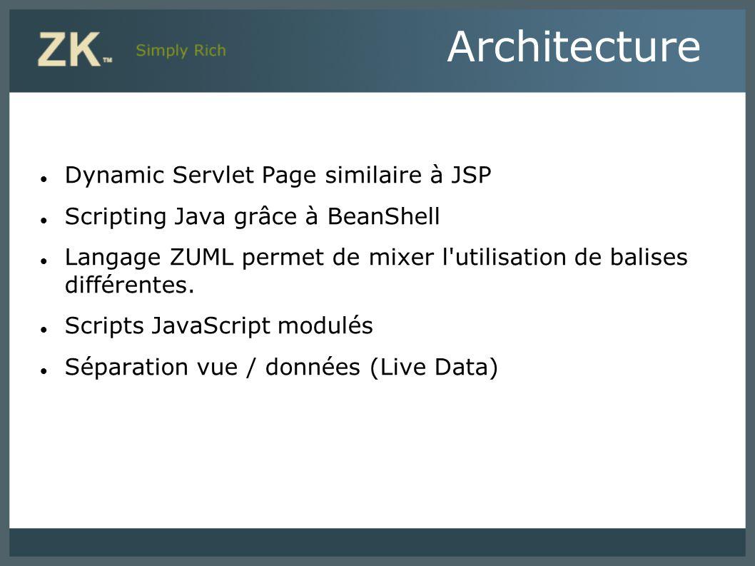 Dynamic Servlet Page similaire à JSP Scripting Java grâce à BeanShell Langage ZUML permet de mixer l'utilisation de balises différentes. Scripts JavaS