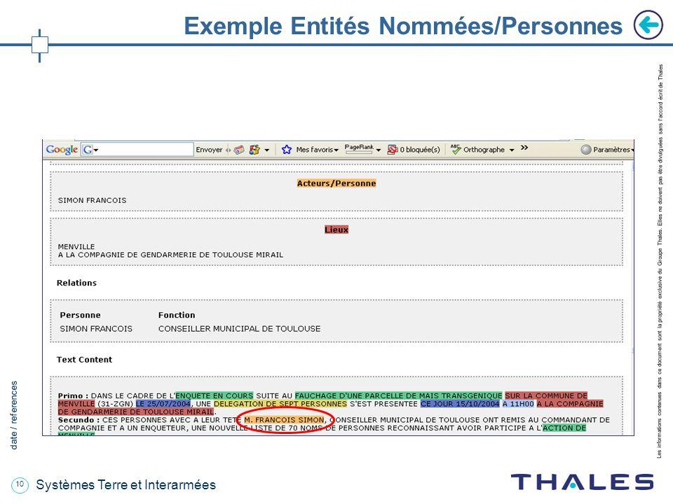 10 date / references Les informations contenues dans ce document sont la propriété exclusive du Groupe Thales.