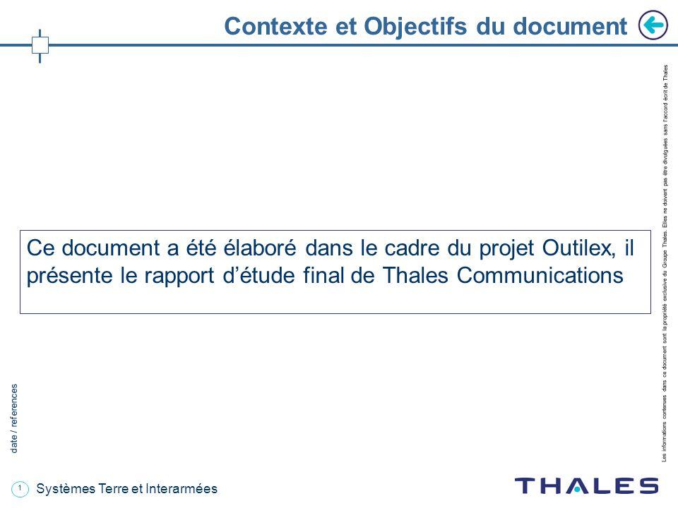 1 date / references Les informations contenues dans ce document sont la propriété exclusive du Groupe Thales.