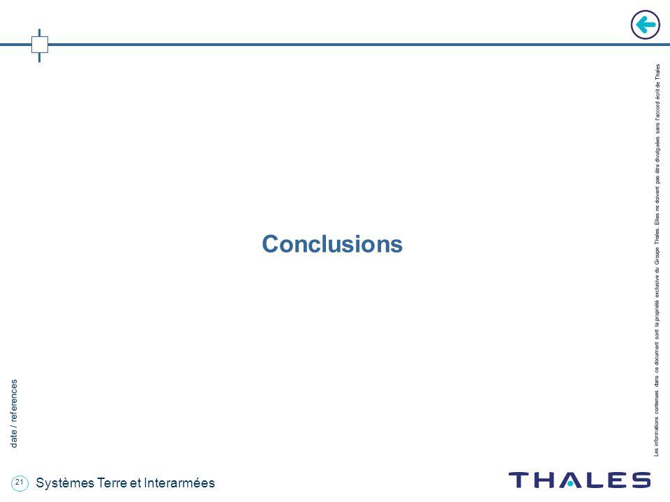 21 date / references Les informations contenues dans ce document sont la propriété exclusive du Groupe Thales.