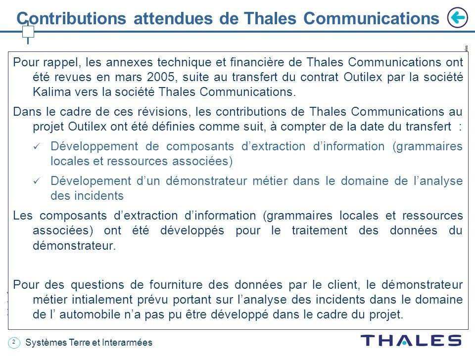 2 date / references Les informations contenues dans ce document sont la propriété exclusive du Groupe Thales.