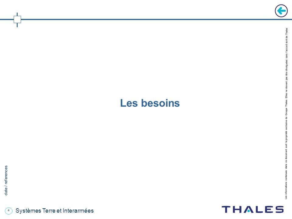 4 date / references Les informations contenues dans ce document sont la propriété exclusive du Groupe Thales.