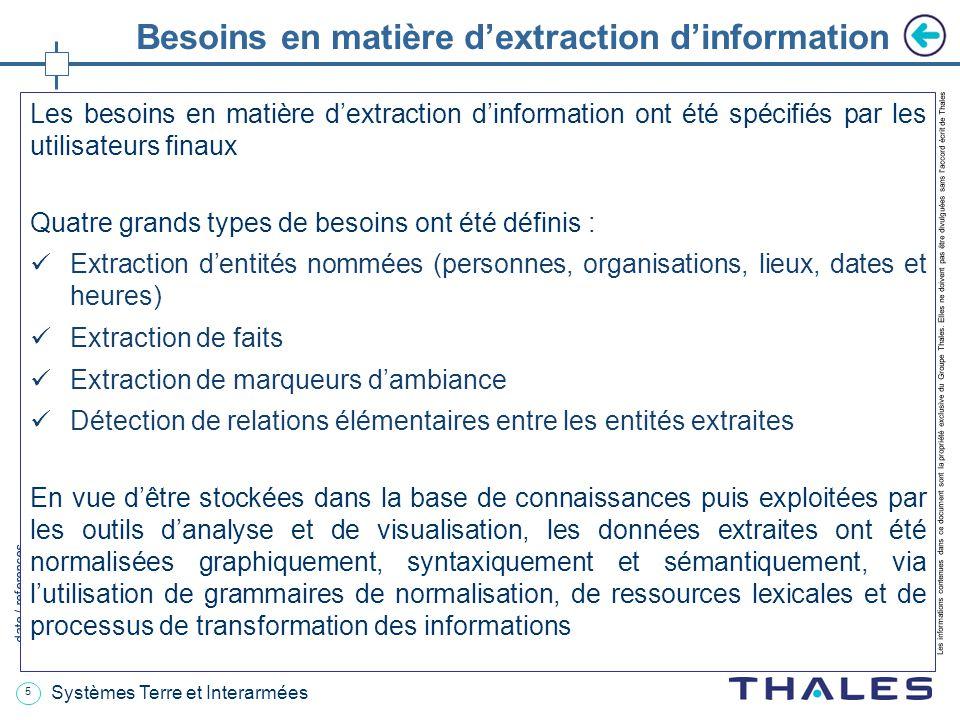 5 date / references Les informations contenues dans ce document sont la propriété exclusive du Groupe Thales.