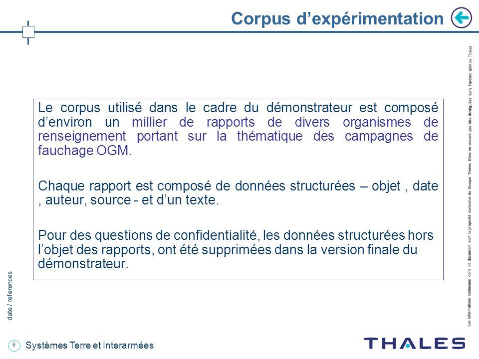 6 date / references Les informations contenues dans ce document sont la propriété exclusive du Groupe Thales.