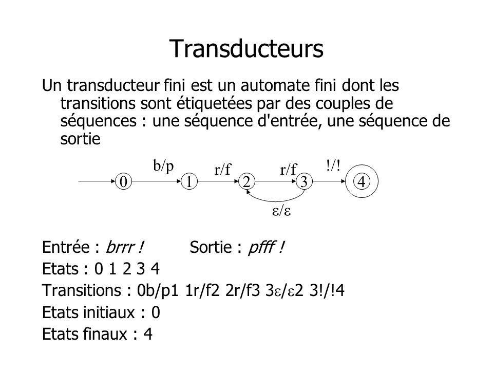 Transducteurs Un transducteur fini est un automate fini dont les transitions sont étiquetées par des couples de séquences : une séquence d'entrée, une