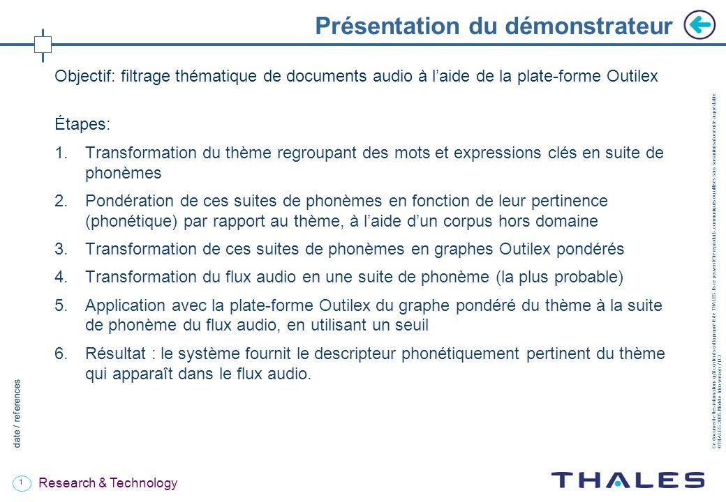 1 date / references Ce document et les informations quil contient sont la propriété de THALES.