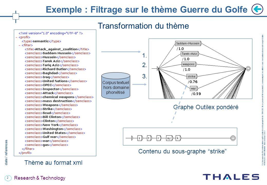 2 date / references Ce document et les informations quil contient sont la propriété de THALES.