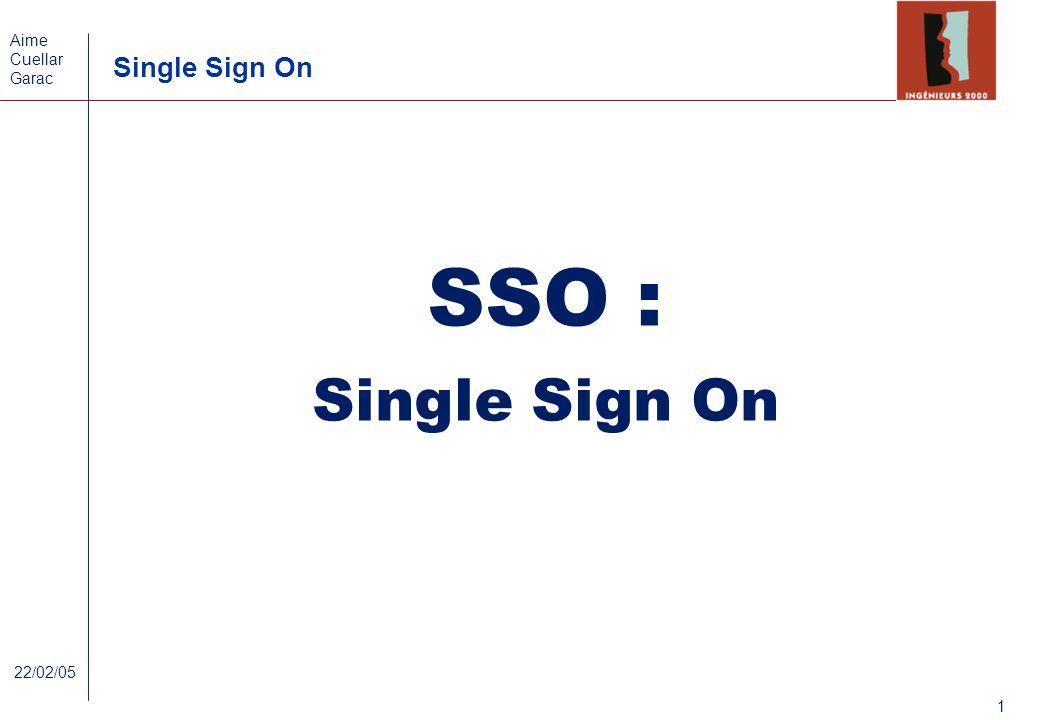 Aime Cuellar Garac Single Sign On 1 22/02/05 SSO : Single Sign On