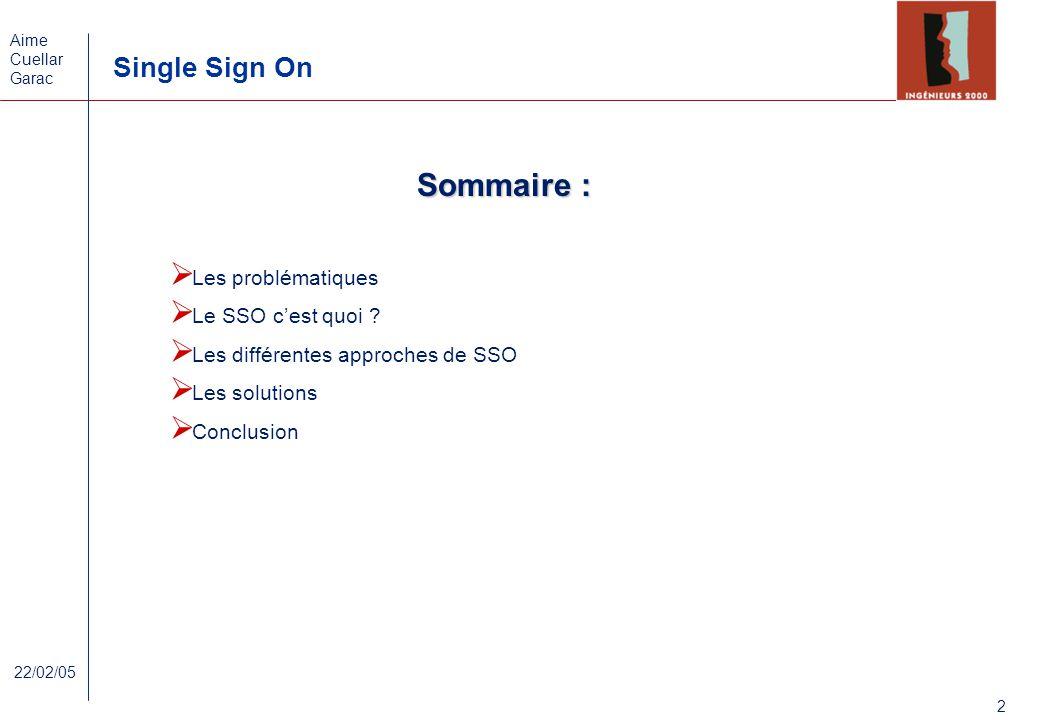 Aime Cuellar Garac Single Sign On 2 22/02/05 Sommaire : Les problématiques Le SSO cest quoi ? Les différentes approches de SSO Les solutions Conclusio