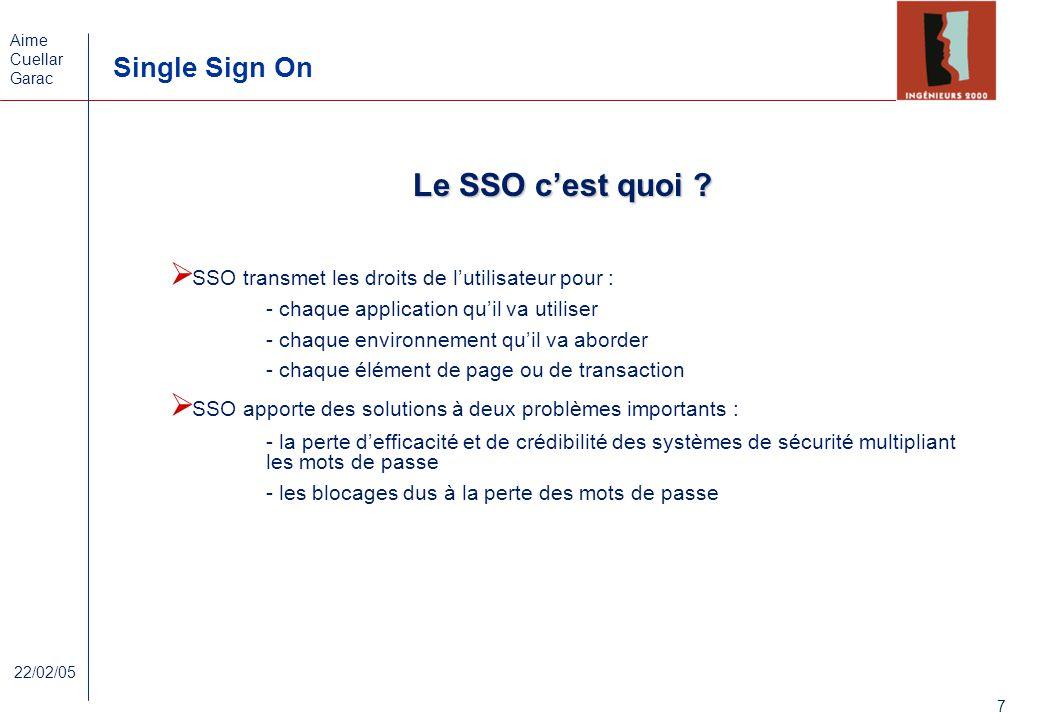 Aime Cuellar Garac Single Sign On 7 22/02/05 Le SSO cest quoi ? SSO transmet les droits de lutilisateur pour : - chaque application quil va utiliser -