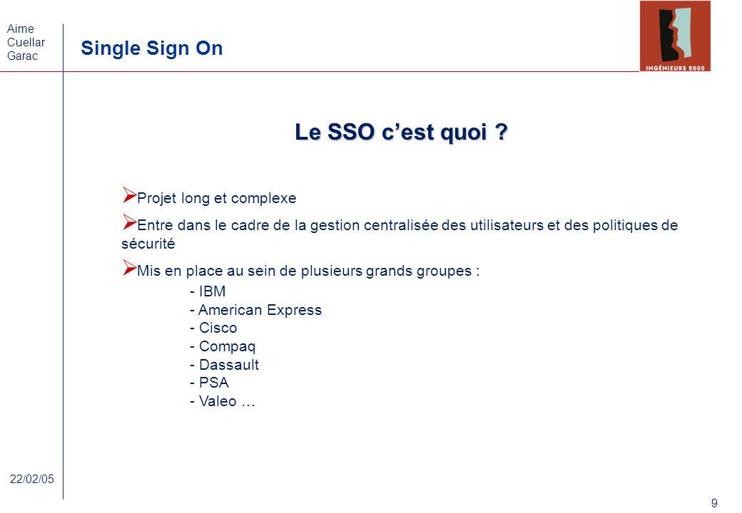 Aime Cuellar Garac Single Sign On 9 22/02/05 Le SSO cest quoi ? Projet long et complexe Entre dans le cadre de la gestion centralisée des utilisateurs