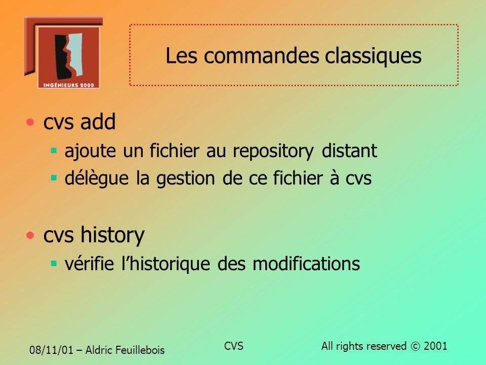 08/11/01 – Aldric Feuillebois CVS All rights reserved © 2001 Les commandes classiques cvs commit soumet les modifications locales au repository distan