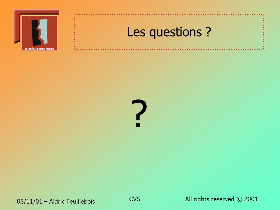 08/11/01 – Aldric Feuillebois CVS All rights reserved © 2001 Conclusion CVS est un outil daide au développement peu coûteux et très efficace Comparati