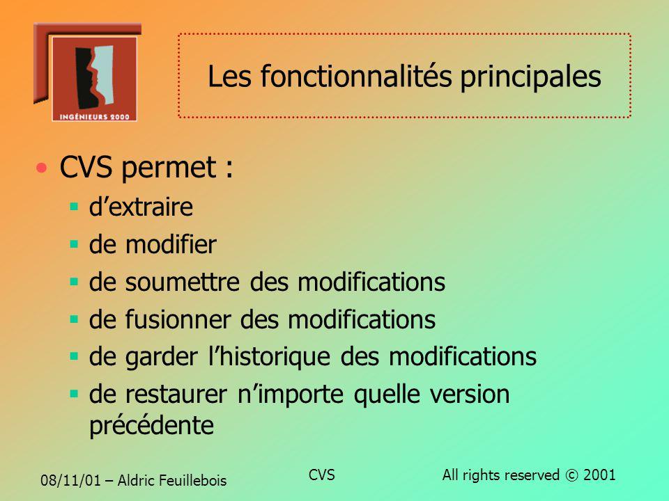 08/11/01 – Aldric Feuillebois CVS All rights reserved © 2001 CVS, ce nest pas ? CVS nest pas un outil de développement Il ne remplace ni améliore le t