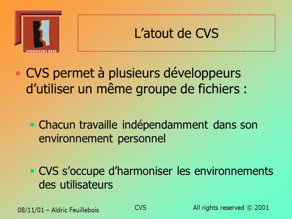 08/11/01 – Aldric Feuillebois CVS All rights reserved © 2001 Les fonctionnalités principales CVS permet : dextraire de modifier de soumettre des modif