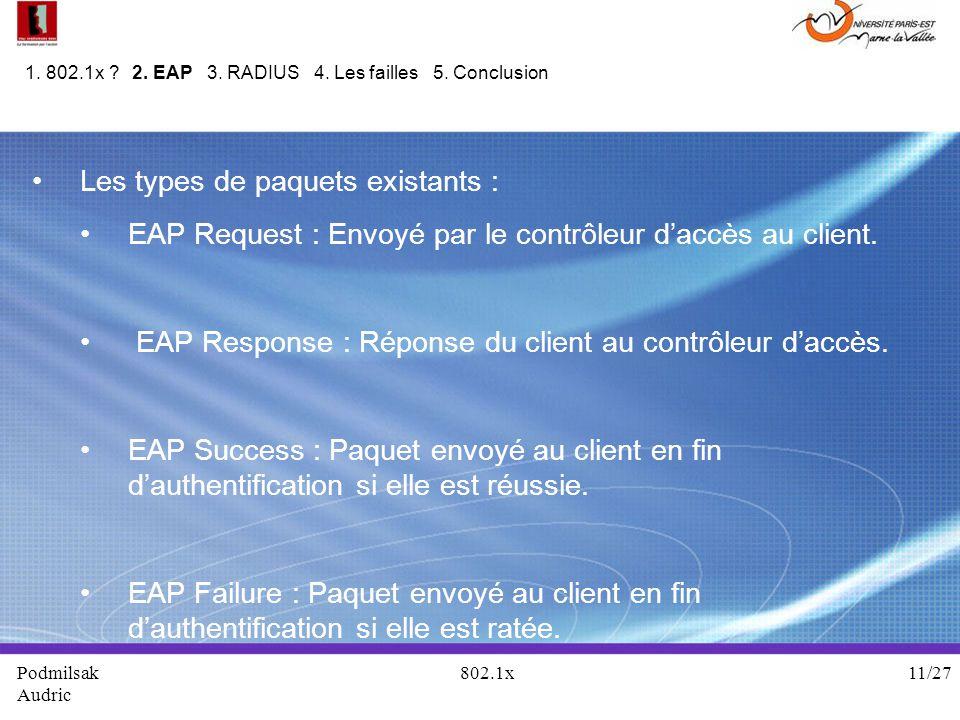 Les types de paquets existants : EAP Request : Envoyé par le contrôleur daccès au client. EAP Response : Réponse du client au contrôleur daccès. EAP S