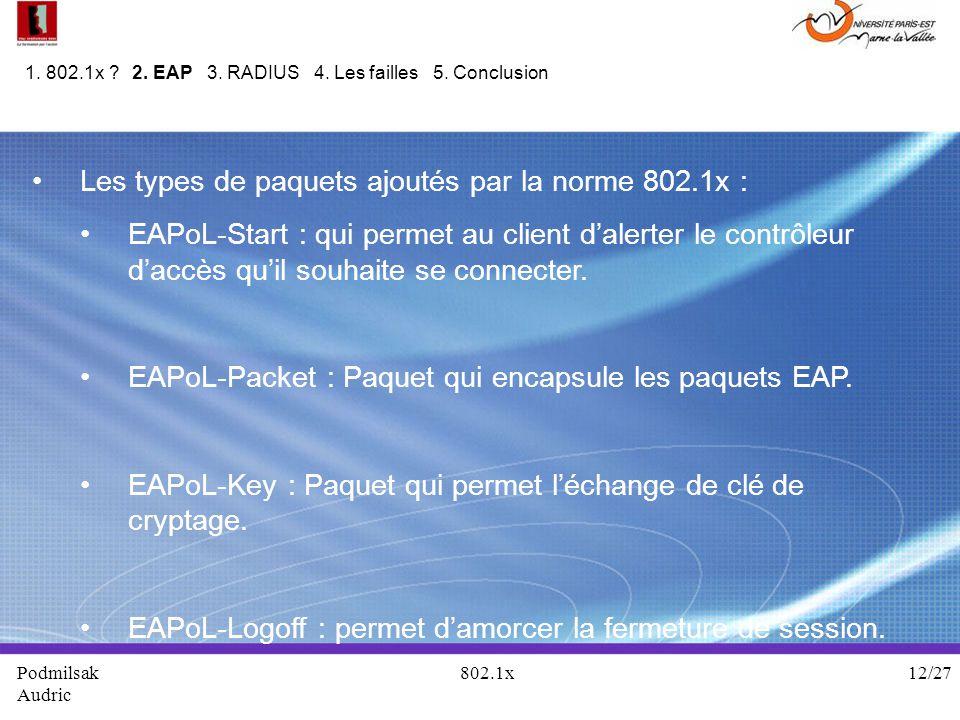 Les types de paquets ajoutés par la norme 802.1x : EAPoL-Start : qui permet au client dalerter le contrôleur daccès quil souhaite se connecter. EAPoL-