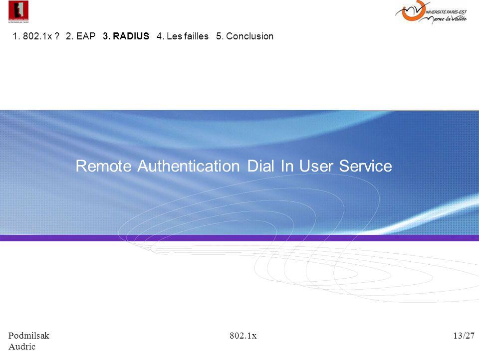 Remote Authentication Dial In User Service 1. 802.1x ? 2. EAP 3. RADIUS 4. Les failles 5. Conclusion Podmilsak 802.1x 13/27 Audric
