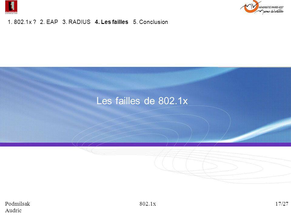 Les failles de 802.1x 1. 802.1x ? 2. EAP 3. RADIUS 4. Les failles 5. Conclusion Podmilsak 802.1x 17/27 Audric