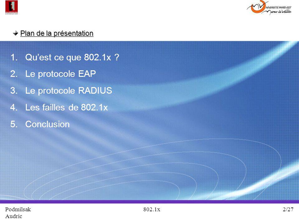 Plan de la présentation 1. Quest ce que 802.1x ? 2. Le protocole EAP 3. Le protocole RADIUS 4. Les failles de 802.1x 5. Conclusion Podmilsak 802.1x 2/