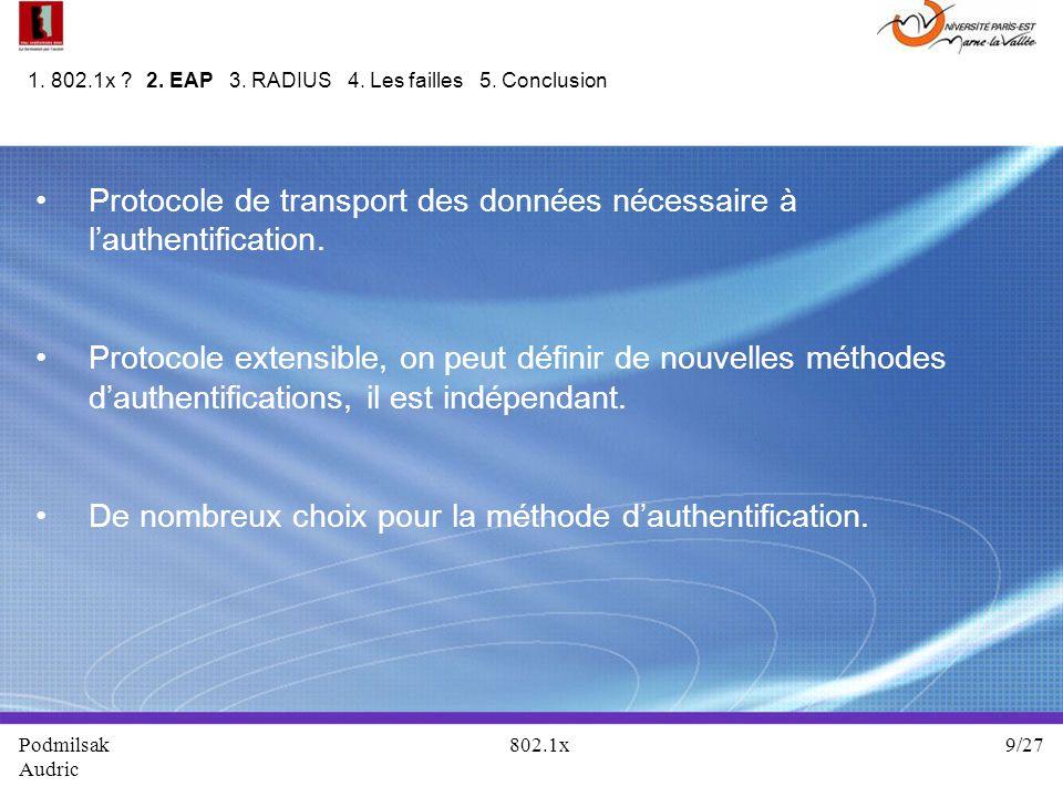 Protocole de transport des données nécessaire à lauthentification. Protocole extensible, on peut définir de nouvelles méthodes dauthentifications, il