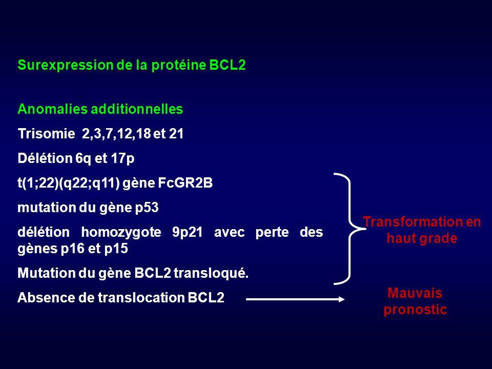Surexpression de la protéine BCL2 Anomalies additionnelles Trisomie 2,3,7,12,18 et 21 Délétion 6q et 17p t(1;22)(q22;q11) gène FcGR2B mutation du gène p53 délétion homozygote 9p21 avec perte des gènes p16 et p15 Mutation du gène BCL2 transloqué.